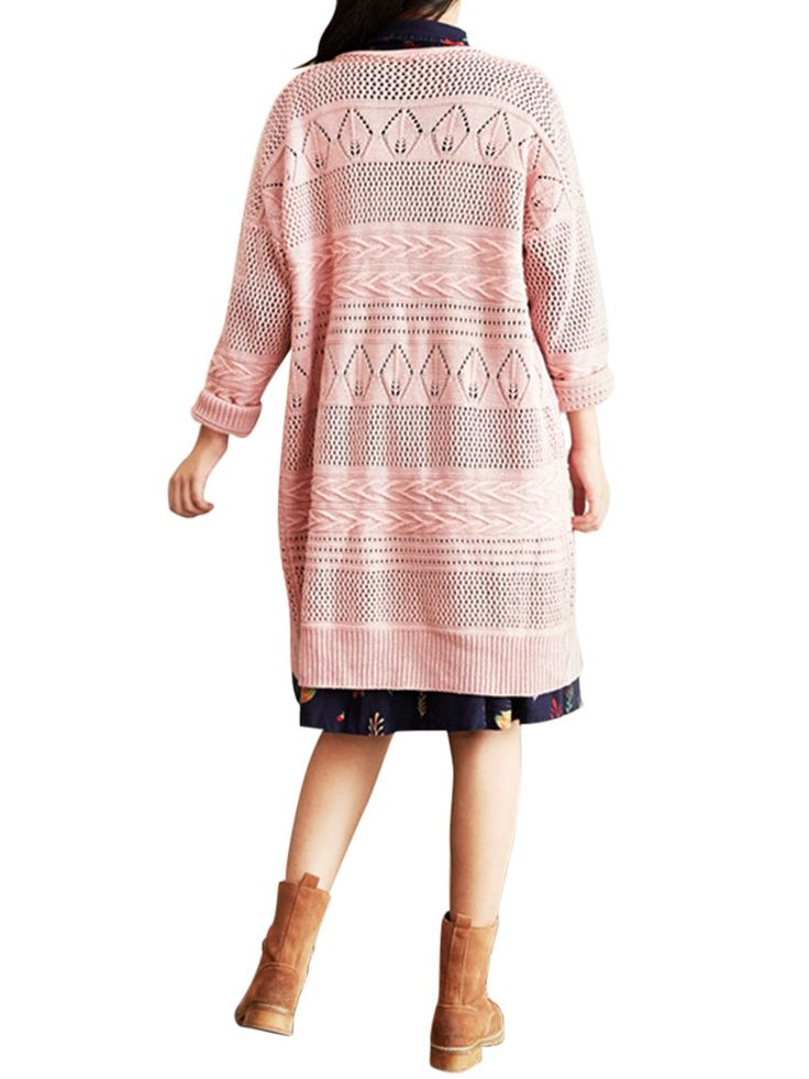 Retro Loose Hollow Out Crochet V-Neck Buttons Pure Color Sweater Cardigan at Banggood sold out