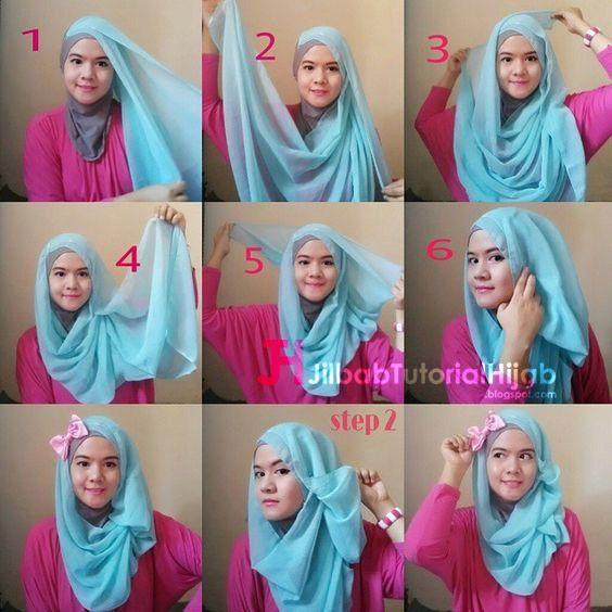 Kumpulan Gambar Tutorial Cara Memakai Hijab simple elegant