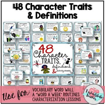 48 character traits with definition are perfect to use for bulletin boards, a Word a Week programs, teaching character trait minilessons, and literacy station activities. This resource contains definition cards with colorful clip art for 48 character traits/adjectives, a 50 slide pdf document with each word, definition, and clip art on a page, and a packet of 9 vocabulary/reading activities students can do with the set of words.