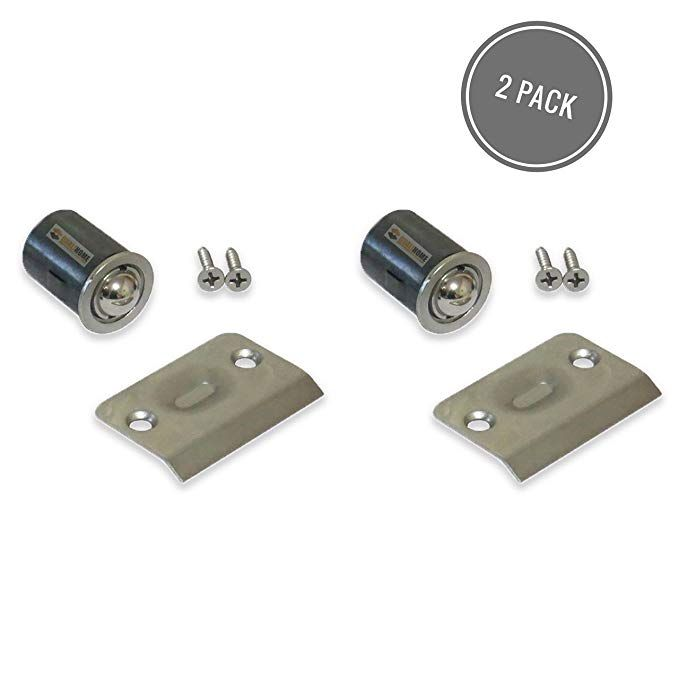 Drive-In Closet Door Ball Catch with Strike Plate and Packs Satin Nickel