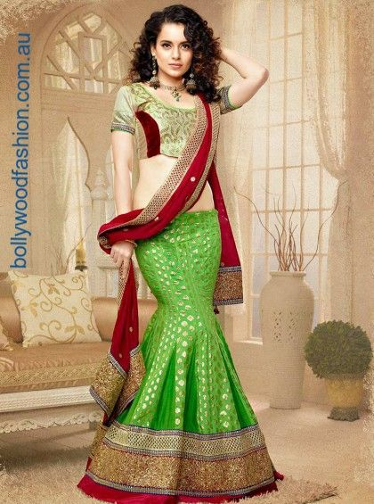 Superb enchanting green designer fish cut lehenga choli in Art silk. Beautifully designed for a special occasion embellished with resham,kasab,patch work & zardosi work done over the lehenga & comes with matching blouse & dupatta. Visit us https://www.bollywoodfashion.com.au/all-products/green-designer-fish-cut-lehenga-choli/