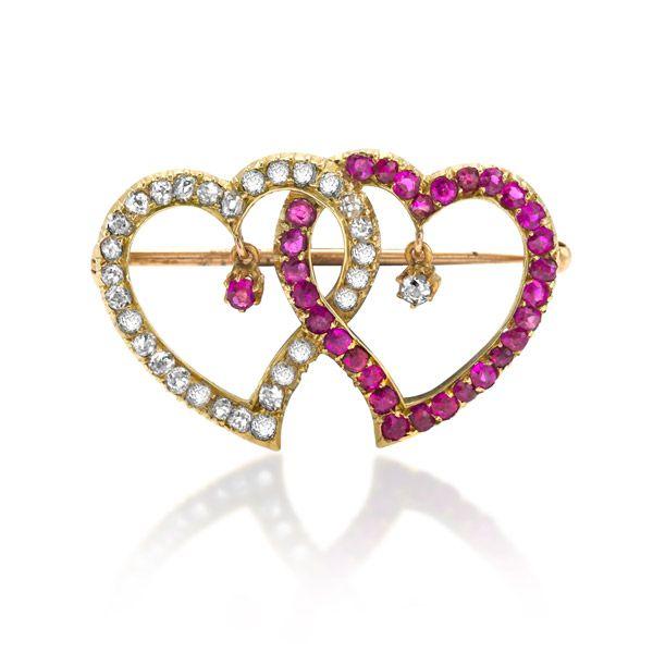 Ruby and Diamond Heart Brooch - Heming Jewellers London - Diamond Rings, Diamond Jewellery, Watches and Antiques.