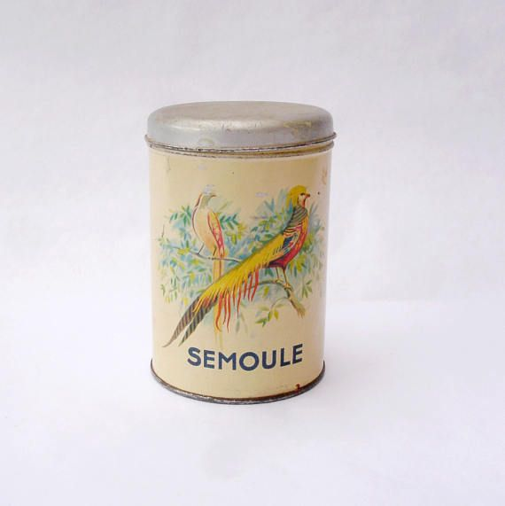 """French vintage storage tin for """"Semoule"""" (semolina) - floral and golden pheasant design, 1930s, rare"""
