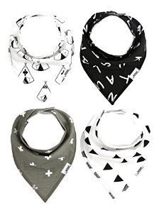 These bandana bibs are amazing! They keep my little drool monster dry and looking so cute at the same time :) http://www.amazon.com/Matimati-Baby-Bandana-4-Pack-Monochrome/dp/B013CI3NIW