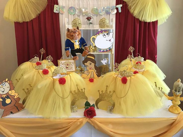 1649 best princess party ideas images on pinterest for Beauty and beast table decorations