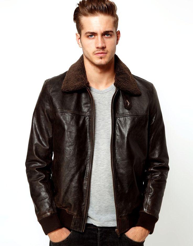 Bomber jacket mens vintage brown with faux fur
