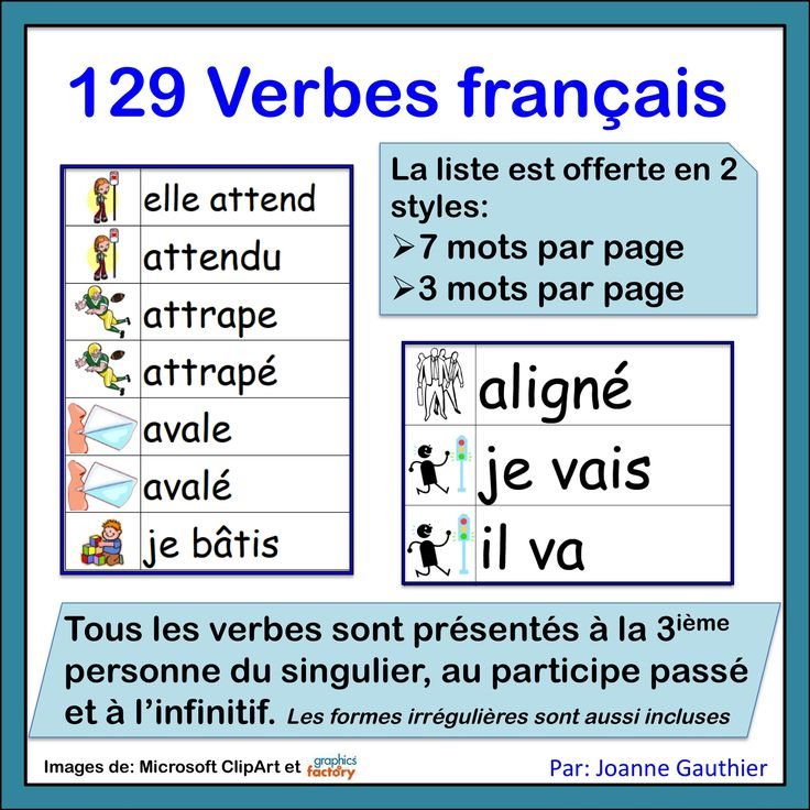Over 100 verbs for beginning French students.  Verbs are in the 1st/3rd person present form, past participle form and the infinitive.