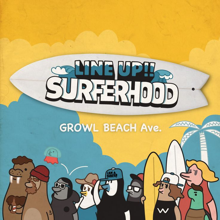Surf friends. / Lineup!! Surferhood - illust by CHOPONS