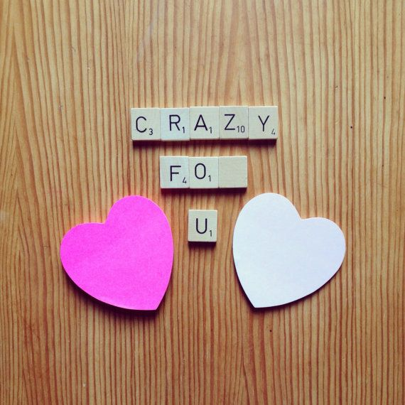 Valentines Gift Anniversary Gift Wedding Scrabble Magnets. Upcycled Scrabble Magnets 'Crazy For U'. Perfect for Valentines. £4.50 SevenPMstitches #valentinesdaygiftideas