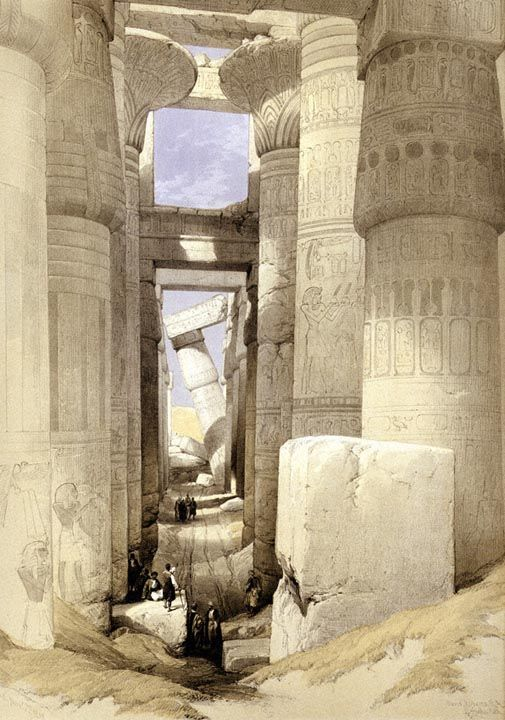 View looking across the Hall of Columns, Karnac by David Robert  From Eygpt and Nubia, 1842.