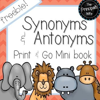 This print and go Synonym and Antonym mini book is simple and fun to use with your students!  Simply print the mini book, and then have your students read the sentences that are on each page.  Each sentence has one word underlined.  They need to write synonyms and antonyms for the underlined word.