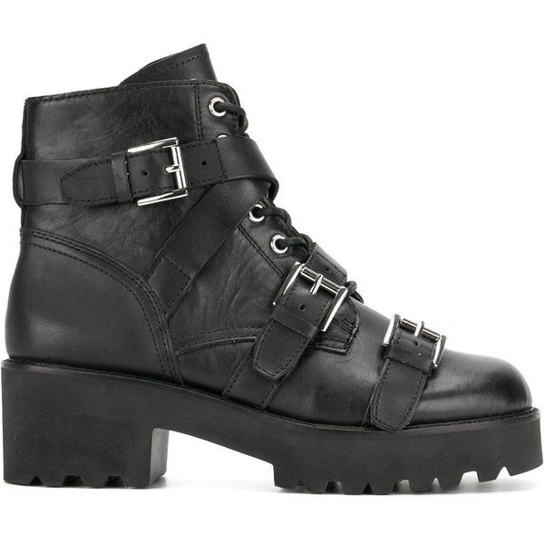 Ash Razor buckle boots ($217) ❤ liked on Polyvore featuring shoes, boots, black, black leather shoes, black boots, leather shoes, real leather shoes and ash boots
