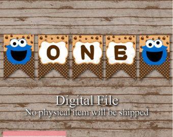 Digitaal kleine blauwe Monster verjaardag Banner door CSExpressions