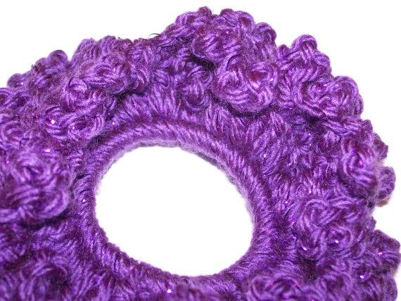 Purple Sparkle Scrunchie / Purple Pony Tail Holder by tinybabylady, $5.50