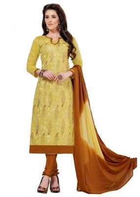 Casual Wear Yellow & Brown Churidar Suit  - Aashiqui gold 61015