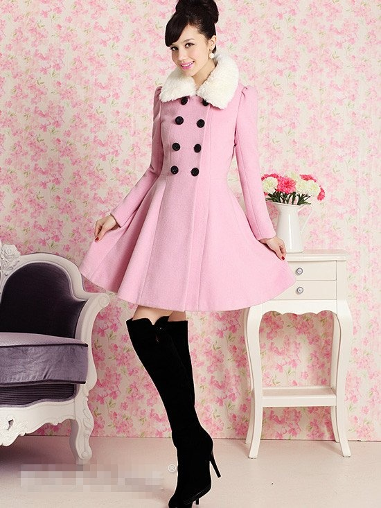 2012 Fashion PINK DOLLS Winter Warm long woolen Pink Faux ...