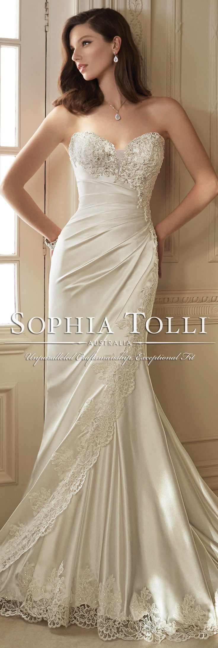 The Sophia Tolli Spring 2016 Wedding Dress Collection - Style No. Y11642 - Morrigan #satinweddingdress
