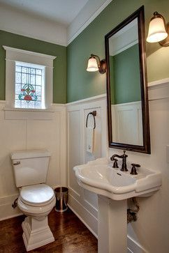 Green & white wainscoted powder room. Love the colors, of course! framed stained glass into the living room wall? Make Mirror frame match window frame though.