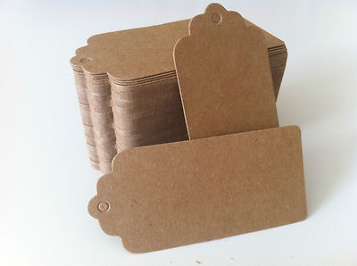100PCS DIY Kraft Brown Wedding Bonbonniere Gift Tags + Free Thick Twines!