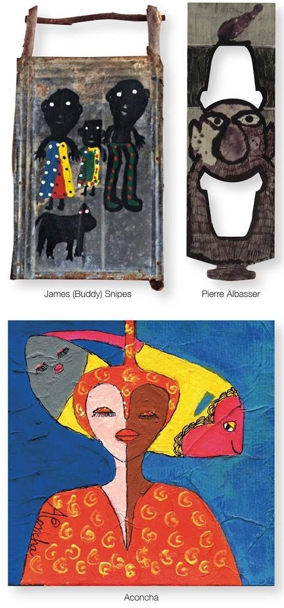 Drei weitere Aussenseiter-künstler:  James (Buddy) Snipes, ein Afroamerikaner aus den USA Pierre Albasser aus Frankreich Aconcha Sanz y Averhoff, eine Kubanerin, die in Frankreich lebt.  Alle Arbeiten stammen von der z