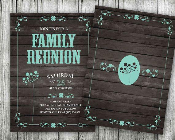 Printable Family Reunion Invitations Rustic Backyard by VGInvites