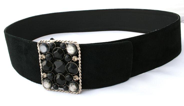 Belt buckle in black suede with silver-gray and black jewel - Cintura in camoscio nero con fibbia gioiello argentata grigia e nera - CUCCOLI ACCESSORI MODA