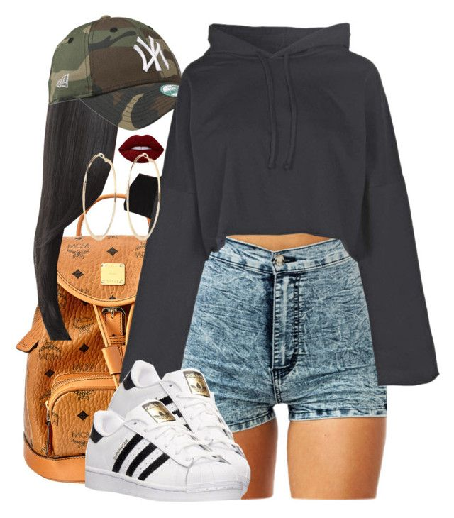 """No Limit Baby"" by tyrionnak ❤ liked on Polyvore featuring MCM, Hairdo, Boohoo, adidas, Lime Crime and River Island"