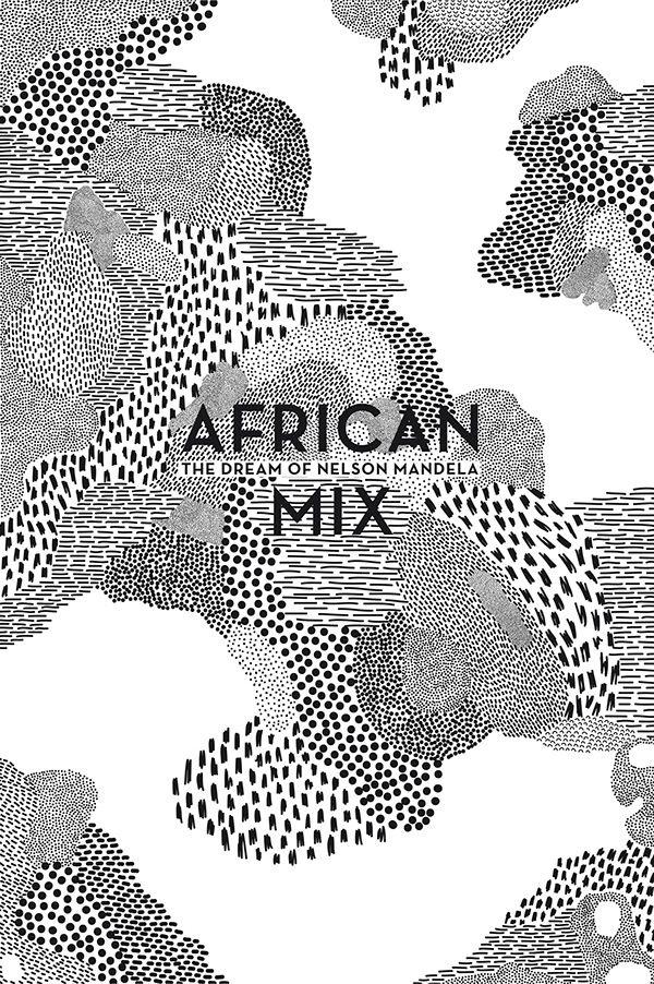"""Série d'affiches pour une exposition en l'honneur de l'Afrique et de Nelson Mandela sur le thème """"African Mix"""". Mon travail s'axe sur le mélange et la relation du noir et du blanc dans la création de motifs évoquant ma vision de l'Afrique."""