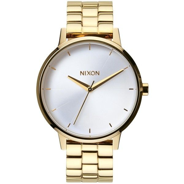 Nixon Women's The Kensington Stainless Steel Bracelet Strap Watch ,... (300 BRL) ❤ liked on Polyvore featuring jewelry, watches, accessories, bracelets, montres, clear watches, bezel watches, leather-strap watches, gold jewelry and gold jewellery
