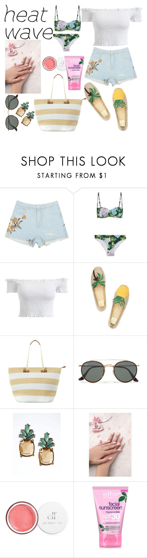 """HeatWave♡"" by annadeiman ❤ liked on Polyvore featuring Dolce&Gabbana, Tory Burch, Phase Eight, Ray-Ban, Banana Republic, Static Nails and Alba Botanica"