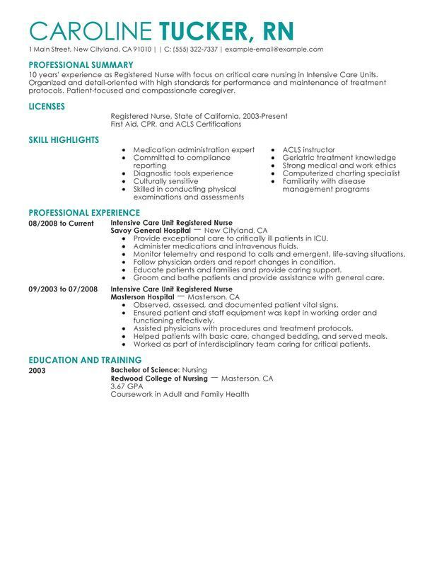 Pin by Magazine on Template Share Registered nurse resume, Rn
