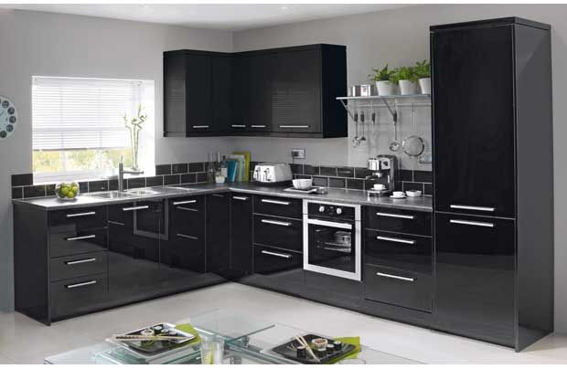 Black gloss kitchen with green accent colour