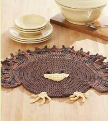 Lily® Sugar 'n Cream® Turkey Place mat #thanksgiving #crochet #pattern