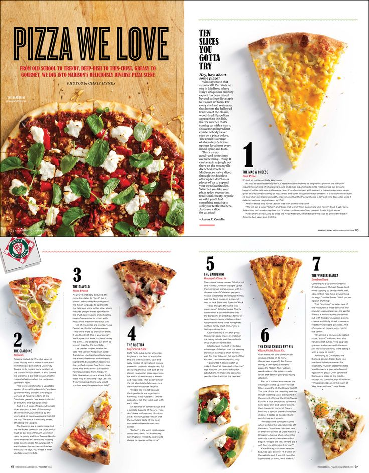 i like this page layout for this pizza magazine i like how simple and easy