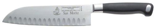 Messermeister 7-Inch High Carbon Forged Stainless Steel Granton Santoku Knife