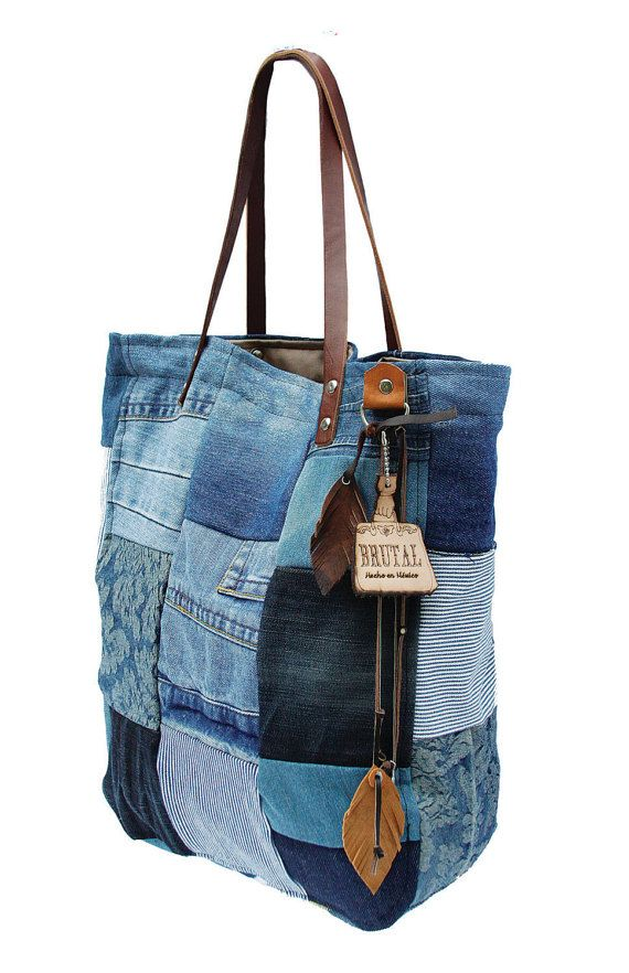 Tote recyclin denim bag by Brutalbagsnsupplies on Etsy