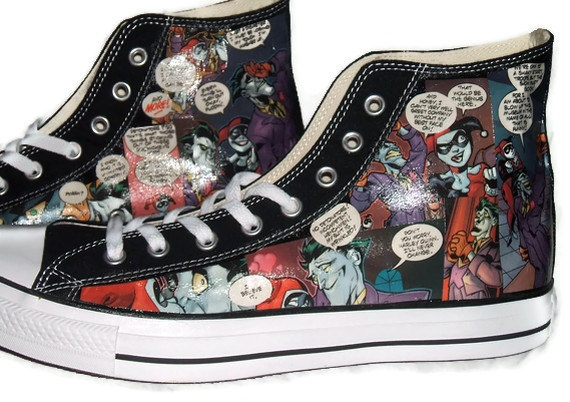 Harley Quinn and Joker Comic Book Shoes - Converse Black High Top - Geekery Clothing Shoes Men
