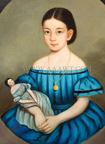 Portrait of Little Girl Holding Doll, Folk Art  New England, Anonymous  Mid Nineteenth Century  A sweet porthole portrait by a recognized hand yet to be identified