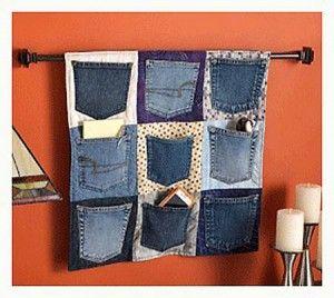 Hanging Denim Pocket Organizer
