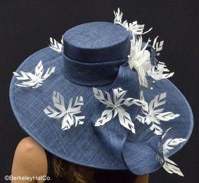 Kentucky Derby Featherdrift Hat in Navy Blue