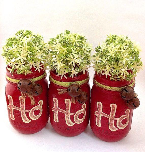 Red mason jars