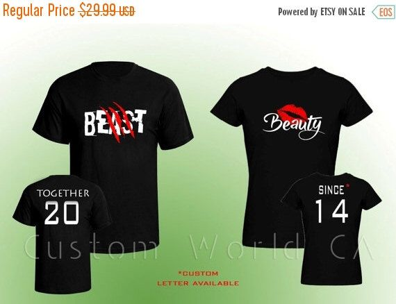 ON SALE TODAY Couple Custom Made T-Shirt - Together Since Beast And Beauty - Couple Shirts Matching T-Shirts His And Hers Beauty Beast Coupl by CustomWorldCA on Etsy https://www.etsy.com/listing/285775895/on-sale-today-couple-custom-made-t-shirt