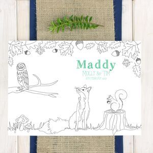 Personalised Woodland Animal Wedding Colour In Placemat on notonthehighstreet by Chi-Chi Moi