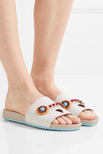 Fendi - Embellished Leather Slides - White - IT39.5