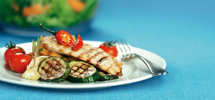Kyckling- och primörgrill med parmesanslungad grönsakspasta