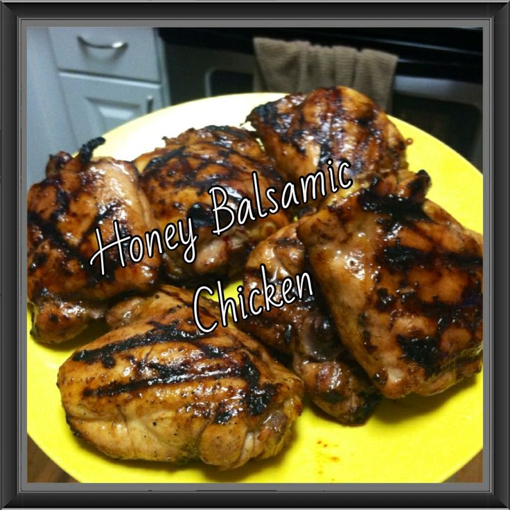 Honey balsamic chicken marinade. Honey, balsamic vinegar, garlic salt, onion powder, salt & pepper. Marinate chicken 3(+) hours then grill until fully cooked. BBQ chicken recipe, chicken thighs, sweet and savory, grill recipes, quick meals, delicious chicken, family favorite, prep ahead