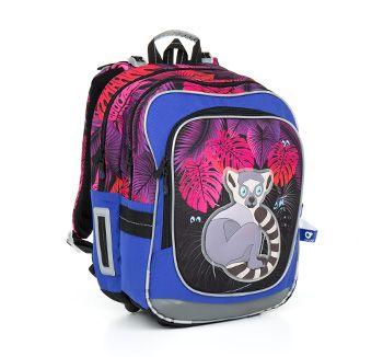 Szalony designerski plecak CHI 792 I - Violet z lemurem dla dziewczyn od 1 do 3 klasy szkoły podstawowej.