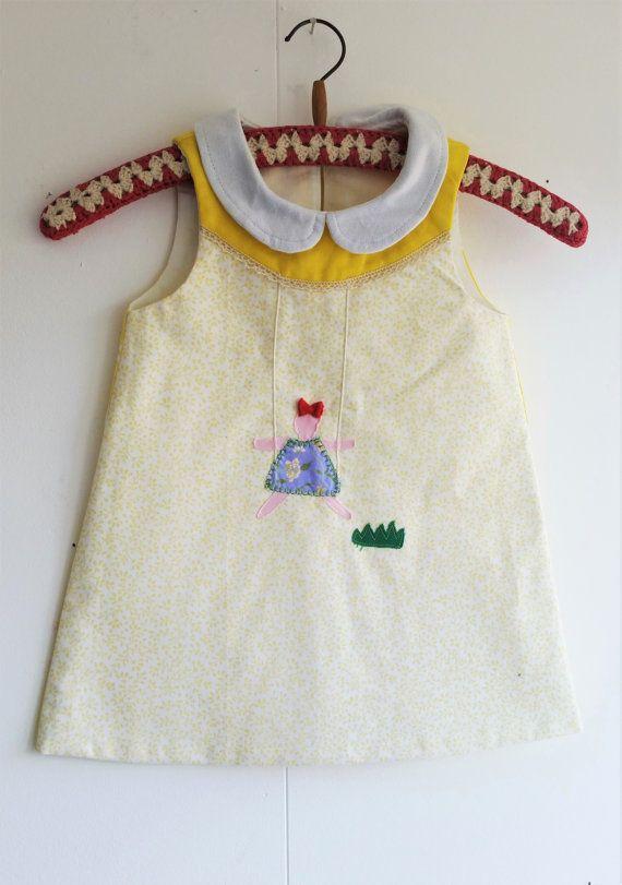Girls dress, Girls Summer Dress, A line dress, Retro Dress, Cute Dress, Girls Yellow Dress, Yellow dress, Mevrouw Hartman https://www.etsy.com/shop/MevrouwHartman  http://www.mevrouwhartman.nl/