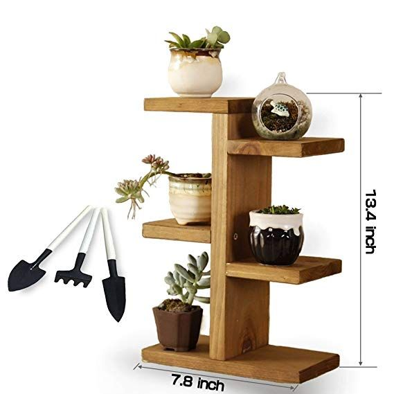 Small Plant Stand Jeerbly Wood Plant Stand For Succulent Tabletop Window Flower Garden Rack 3 Tie Wood Plant Stand Small Plant Stand Tiered Plant Stand Indoor