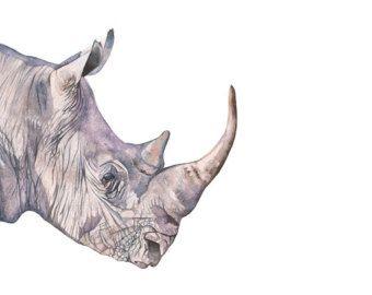 Imprimir acuarela Rhino rinoceronte arte arte de safari